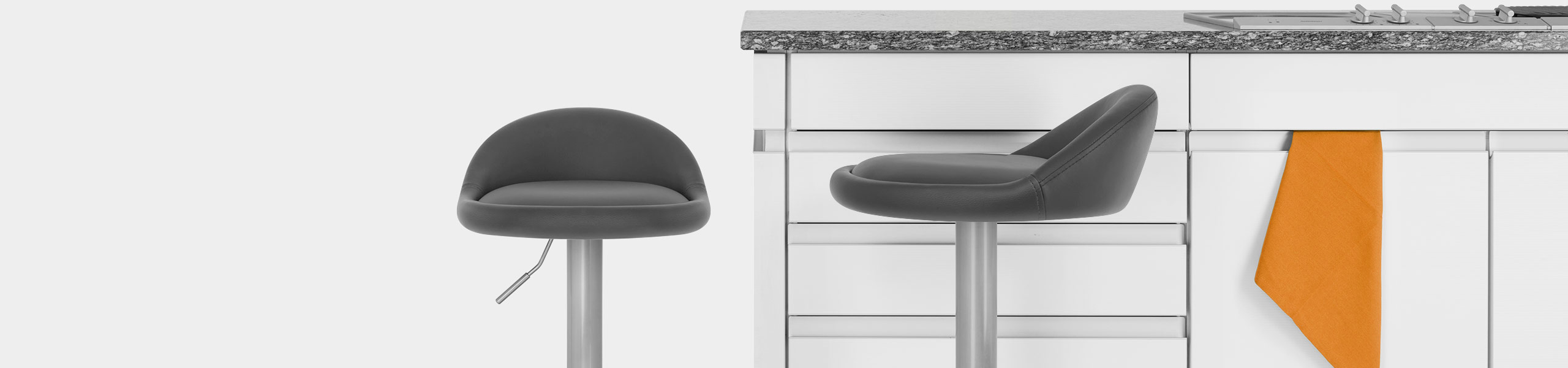 Lulu Brushed Steel Stool Grey Video Banner