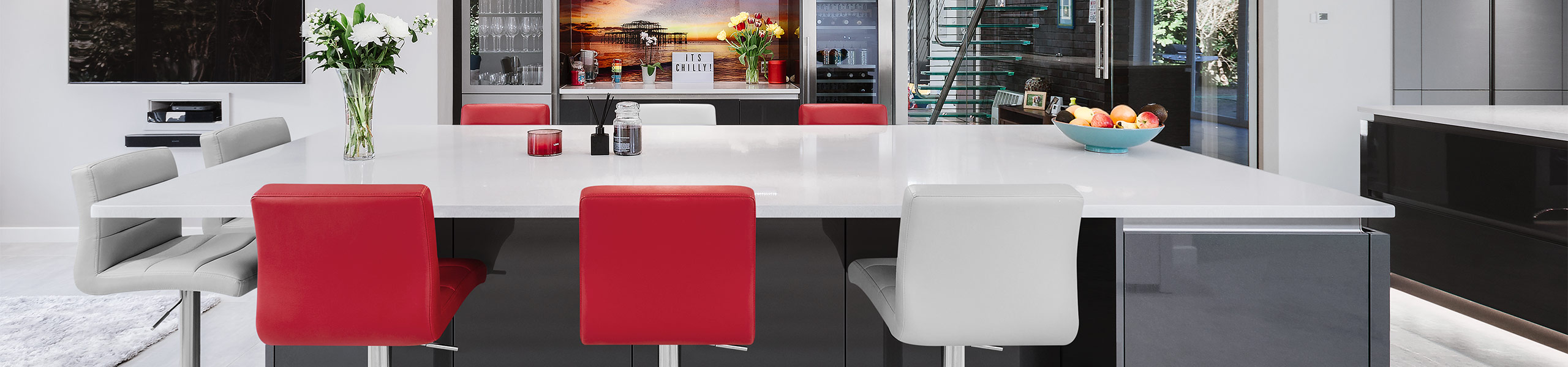 Lush Brushed Steel Bar Stool Red Video Banner