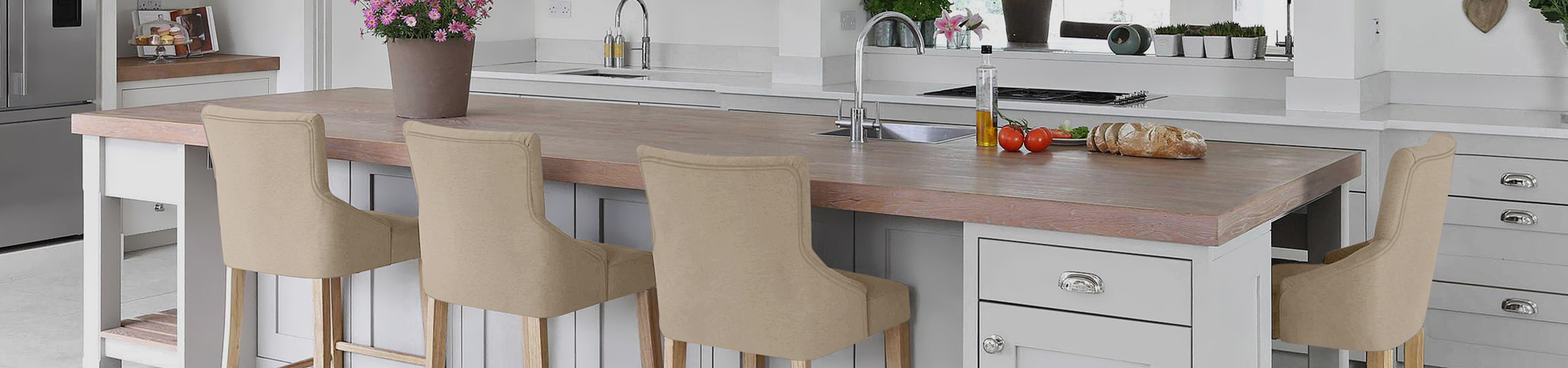 Magna Oak & Beige Fabric Bar Stool Video Banner