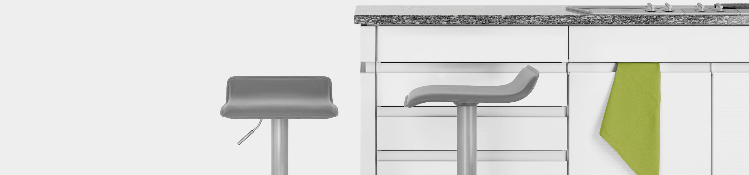 Mars Brushed Steel Bar Stool Grey Video Banner
