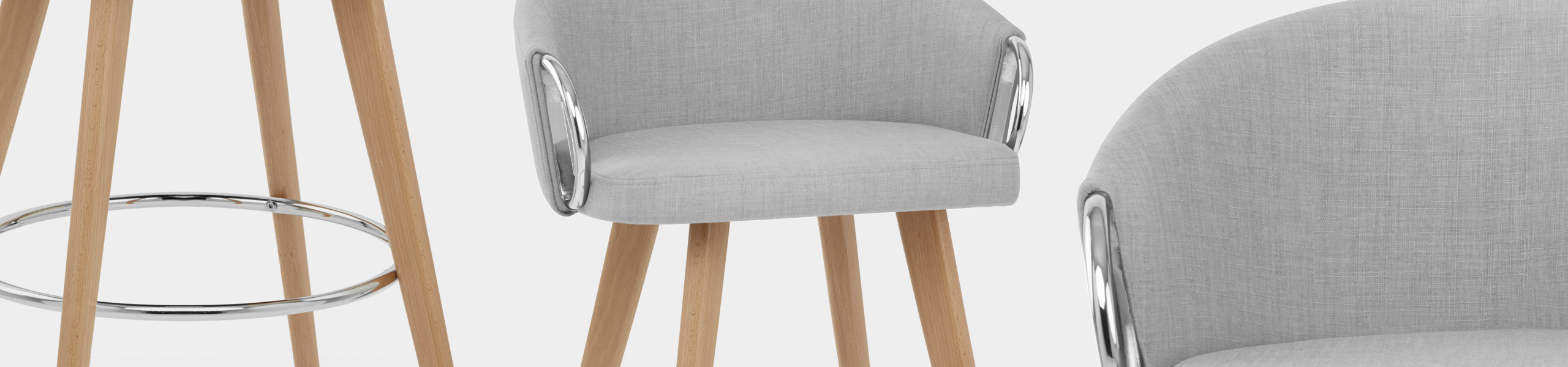 Neo Wooden Stool Grey Fabric Video Banner