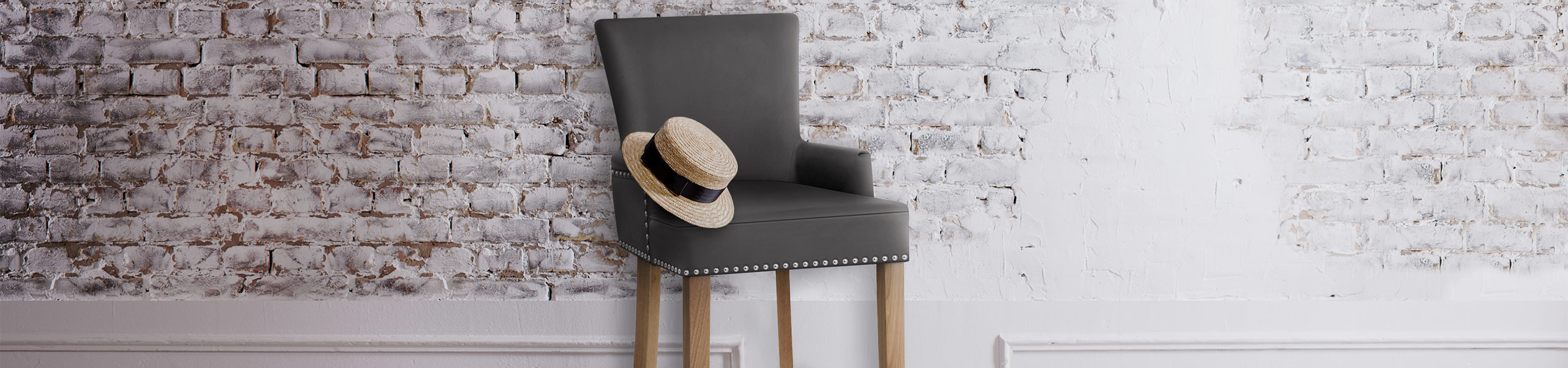 Nico Wooden Stool Grey Leather Video Banner