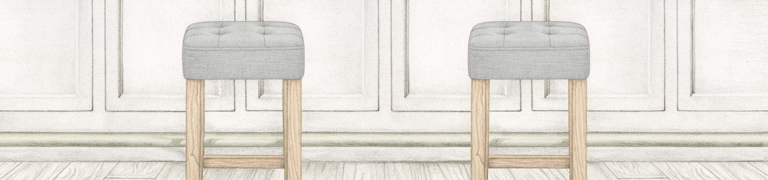 Oliver Oak Stool Grey Fabric Video Banner