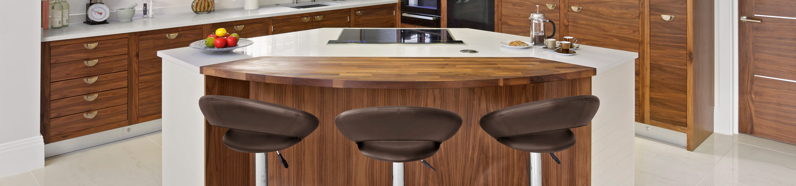 Padded Crescent Bar Stool Brown Video Banner