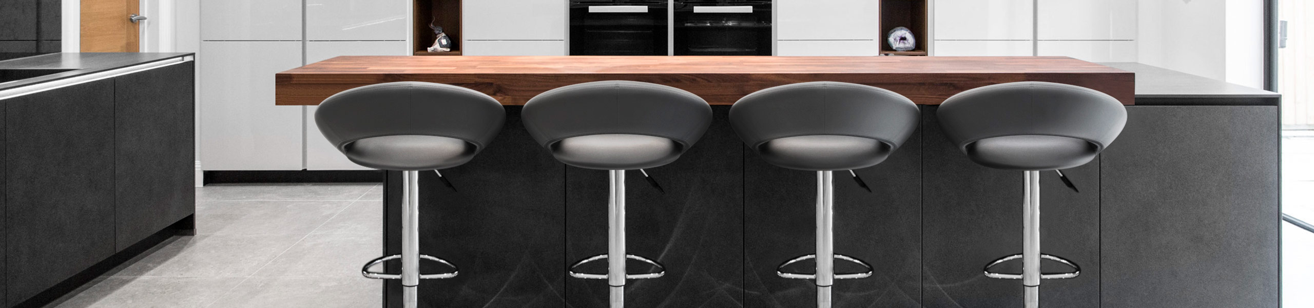 Padded Crescent Bar Stool Grey Video Banner