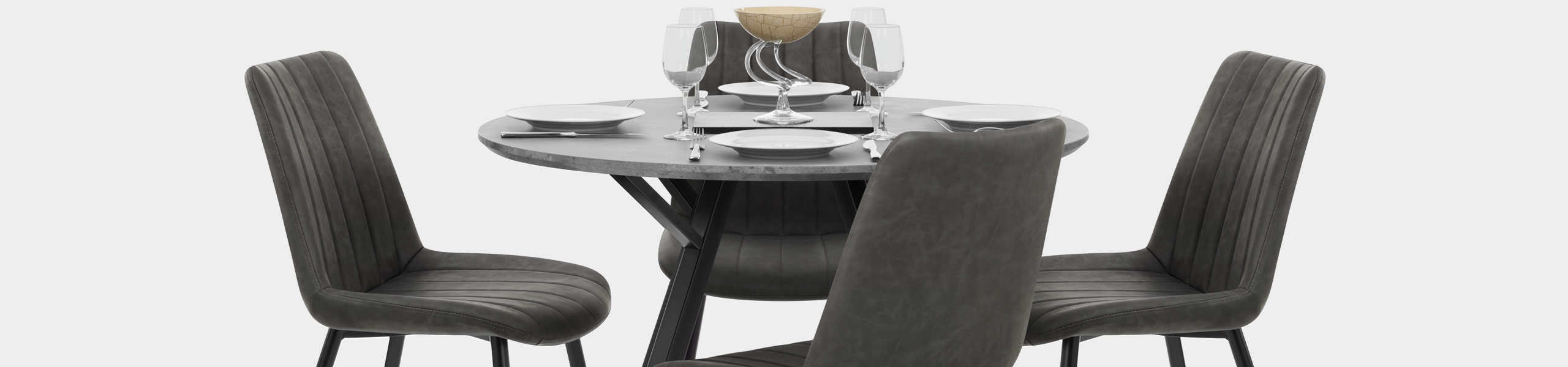 Quest 100cm Dining Table Concrete Video Banner