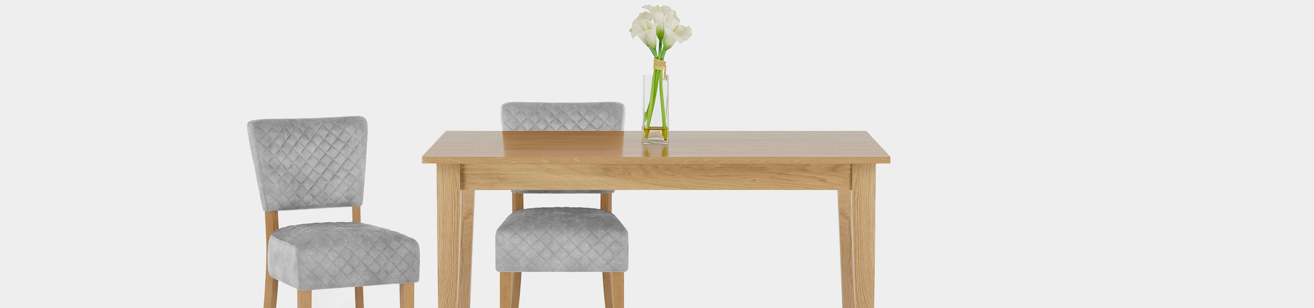 Ramsay Oak Dining Chair Grey Velvet Video Banner