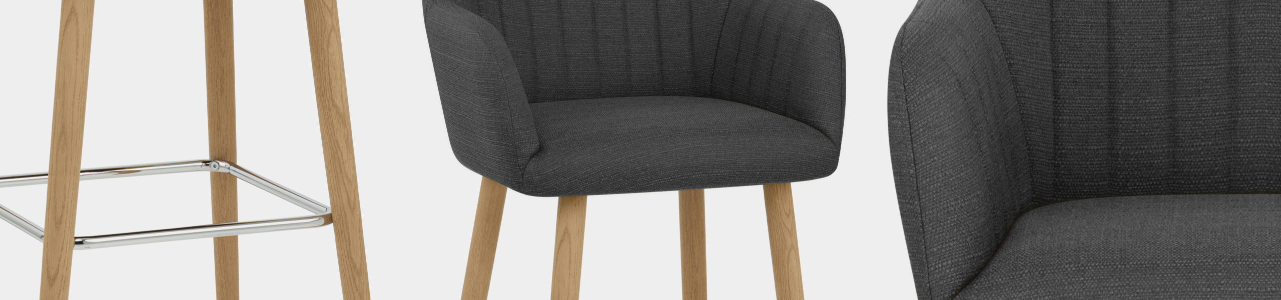 Rio Wooden Stool Charcoal Fabric Video Banner