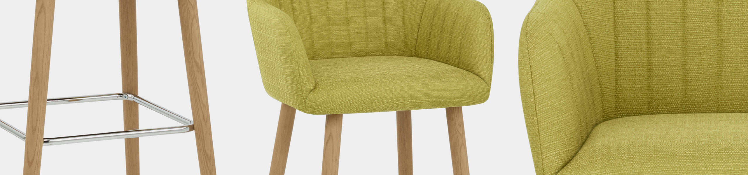 Rio Wooden Stool Green Fabric Video Banner