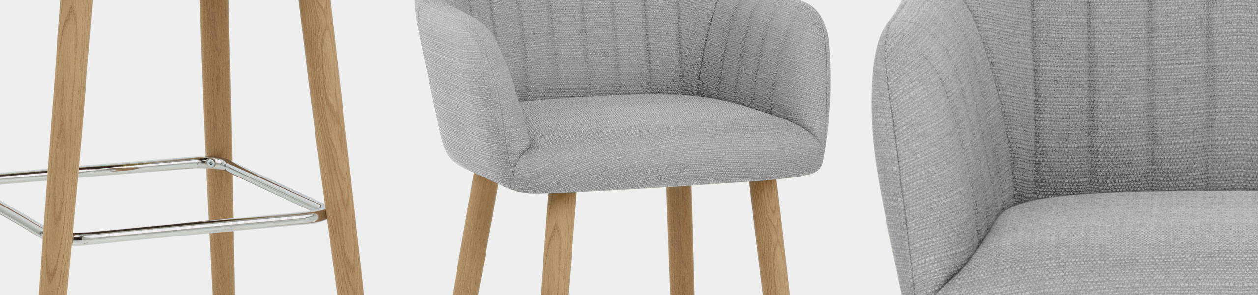 Rio Wooden Stool Grey Fabric Video Banner