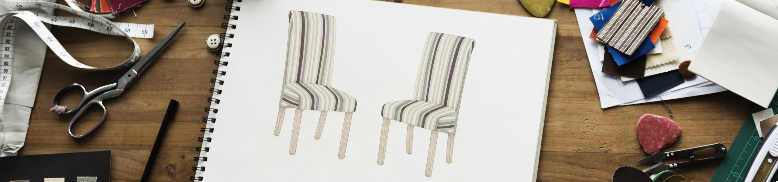 Roma Dining Chair Oak & Stripe Video Banner