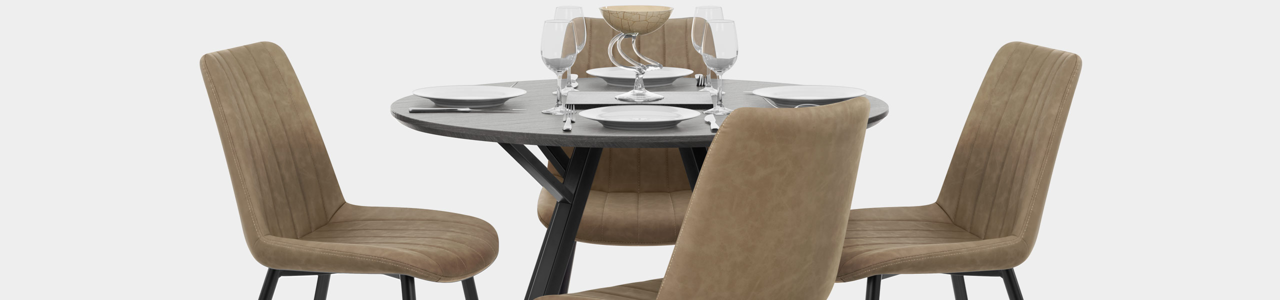 Sussex Dining Set Grey Wood & Brown Video Banner