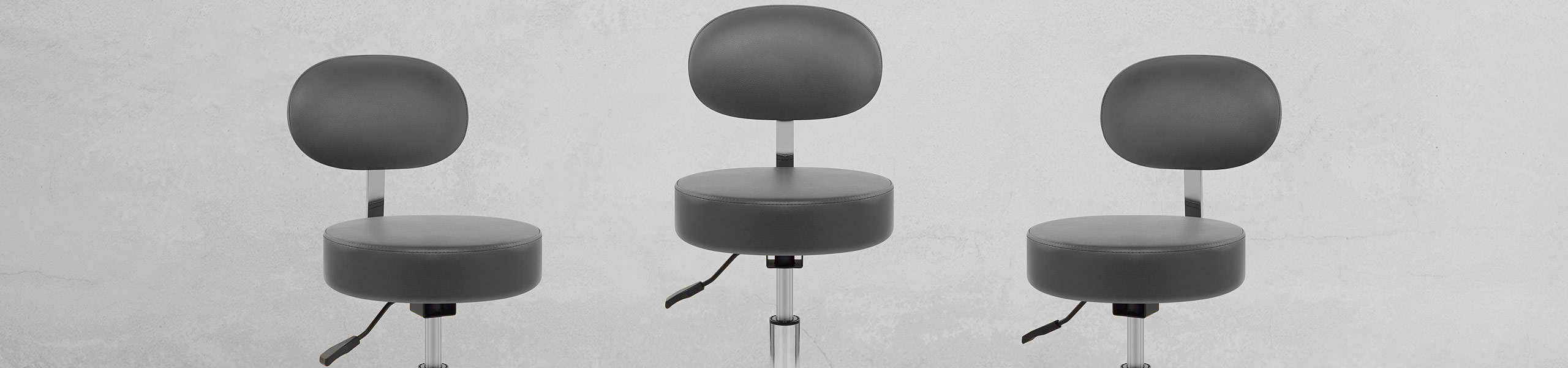 Swivel Stool With Back Grey Video Banner