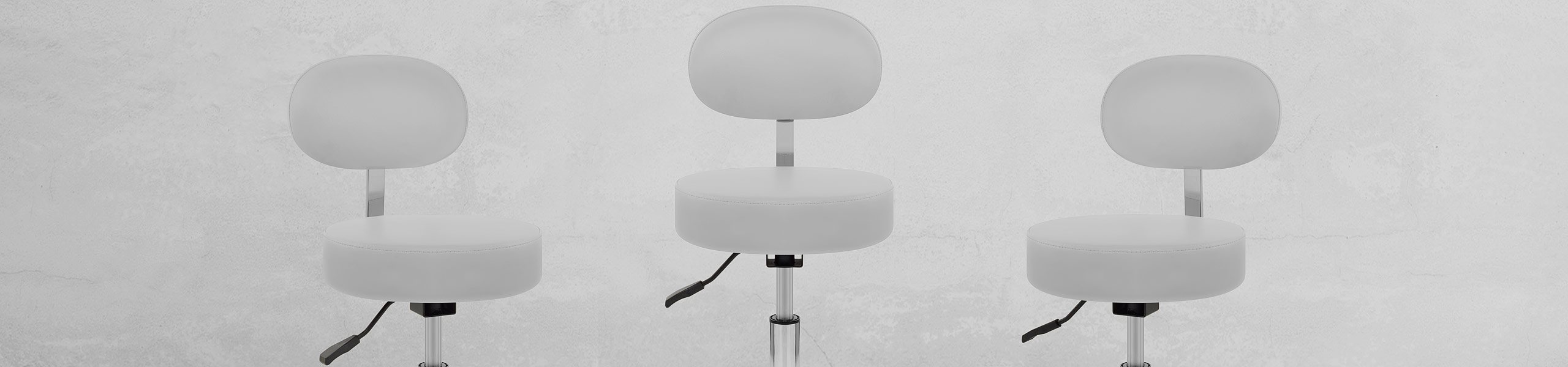 Swivel Stool With Back White Video Banner