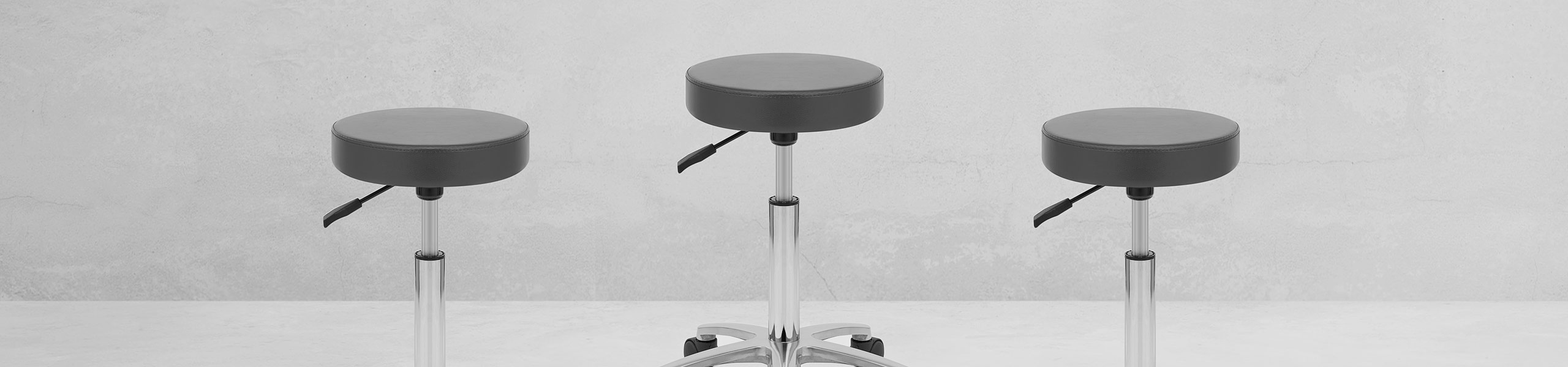 Swivel Stool With Wheels Grey Video Banner