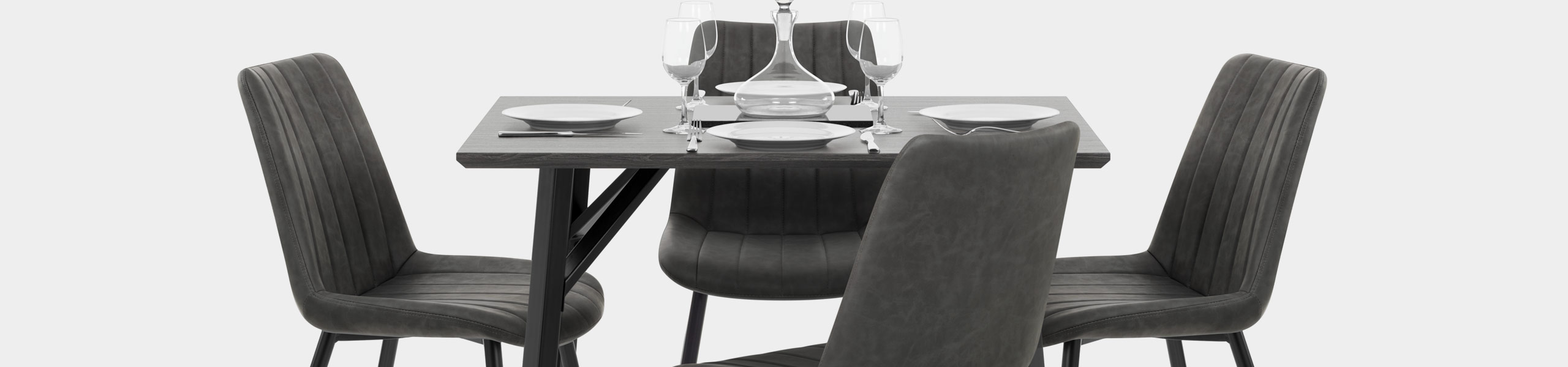 Warwick Dining Set Grey Wood & Charcoal Video Banner
