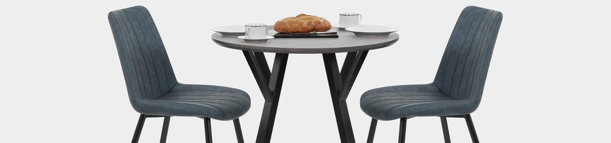 Wessex Dining Set Grey Wood & Blue Video Banner
