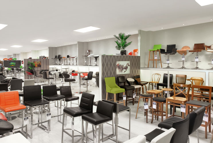 The Interior of Atlantic Shopping's Bar Stool Showroom in Birmingham UK