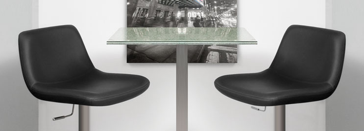 Glass Bar Table with Square Top and Two Black Bar Stools