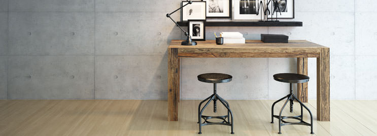 Industrial Style Stools at Wooden Desk with Photoframes